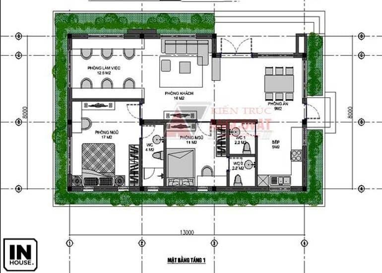 Bố trí nội thất cho biệt thự 1 tầng