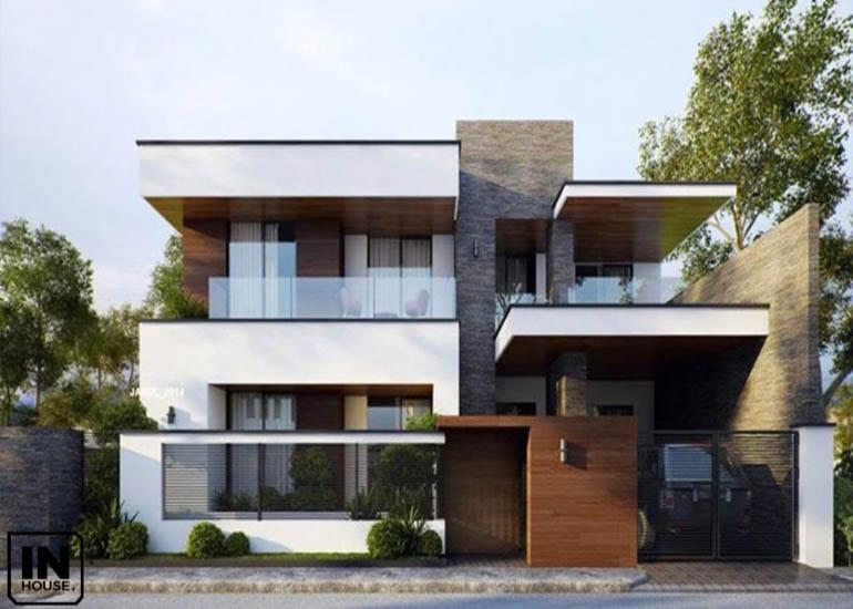 Phối cảnh ngoại thất cho biệt thự với thiết kế hiện đại