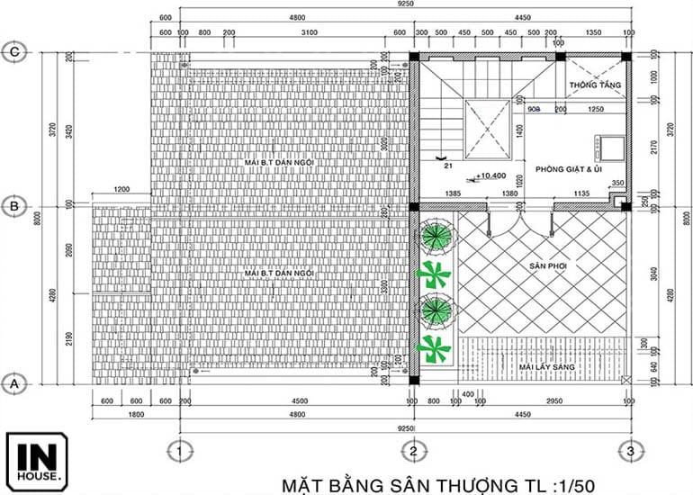 Thiết kế sân thượng biệt thự 3 tầng