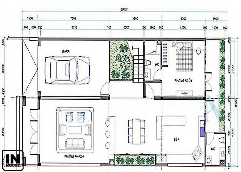 Thiết kế tầng 1 biệt thự 2 tầng