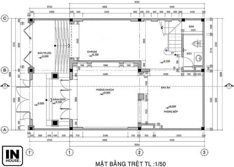 Thiết kế tầng 1 biệt thự 3 tầng