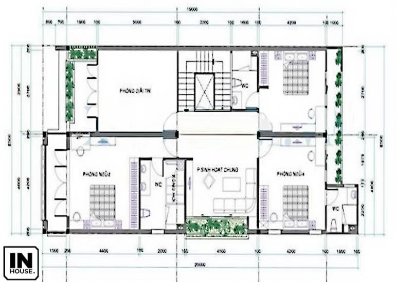 Thiết kế tầng 2 biệt thự 2 tầng
