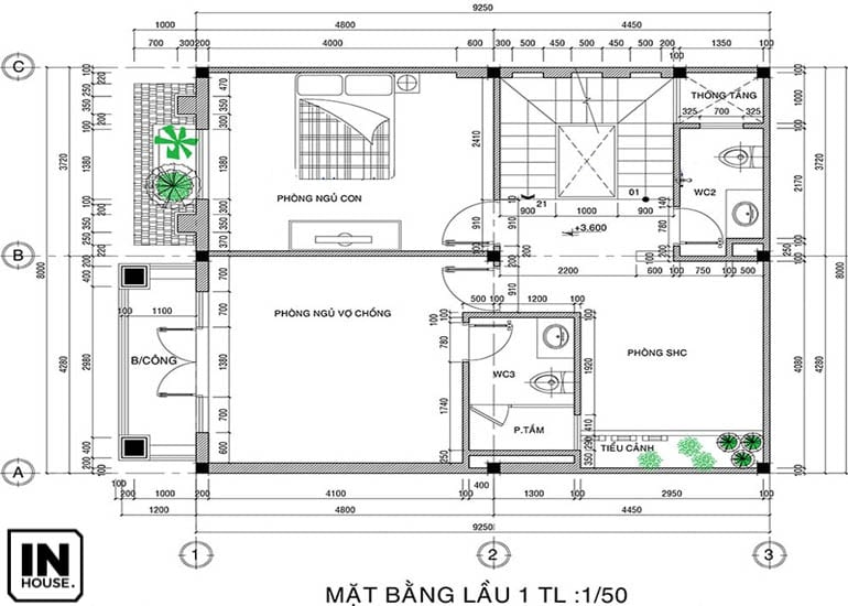 Thiết kế tầng 2 biệt thự 3 tầng