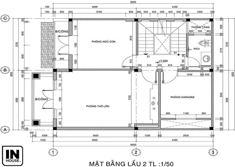 Thiết kế tầng 3 biệt thự 3 tầng