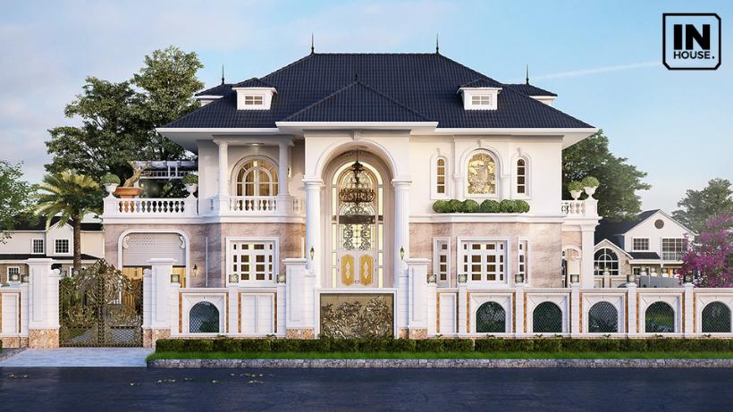 Thiết kế biệt thự với 2 tầng mái thái