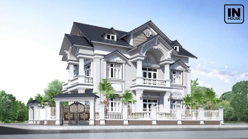 Mẫu thiết kế 2 tầng tân cổ điển trắng tinh khôi - đẹp tinh tế