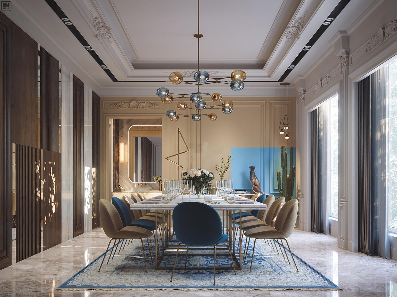Phòng ăn được thiết kế phong cách luxury