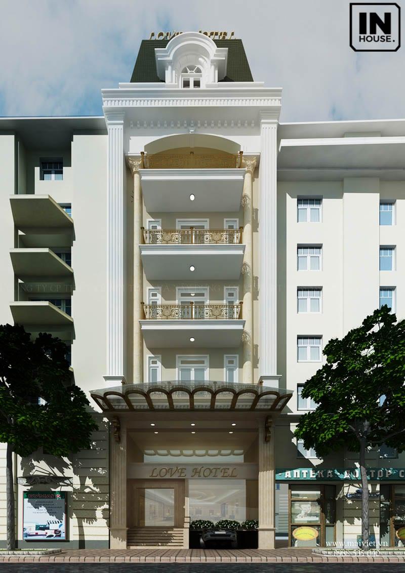 Khách sạn với tông màu trắng chủ đạo