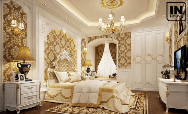 Phòng ngủ khách sạn mini mang phong cách tân cổ điển