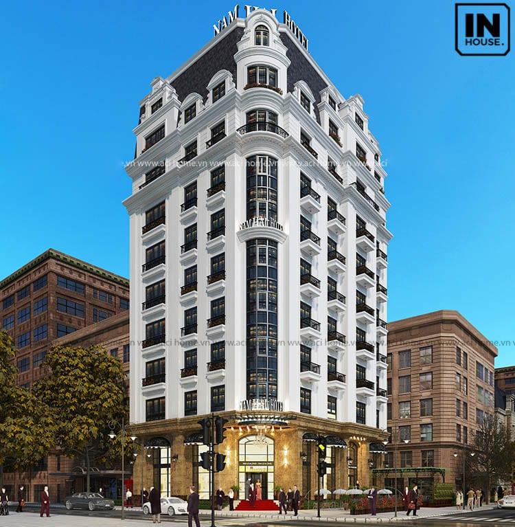 Thiết kế khách sạn 11 tầng tone trắng chủ đạo