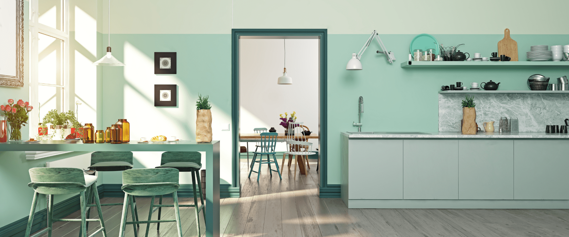 Thiết kế phòng bếp với tông màu Pastel