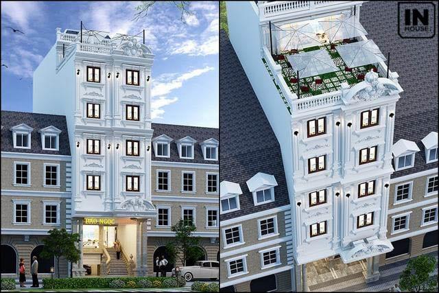 Thiết kế khách sạn 200m2 với tông trắng chủ đạo