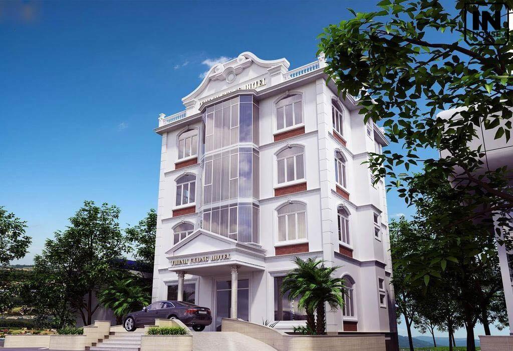 Thiết kế khách sạn mini 200m2 phong cách tân cổ điển