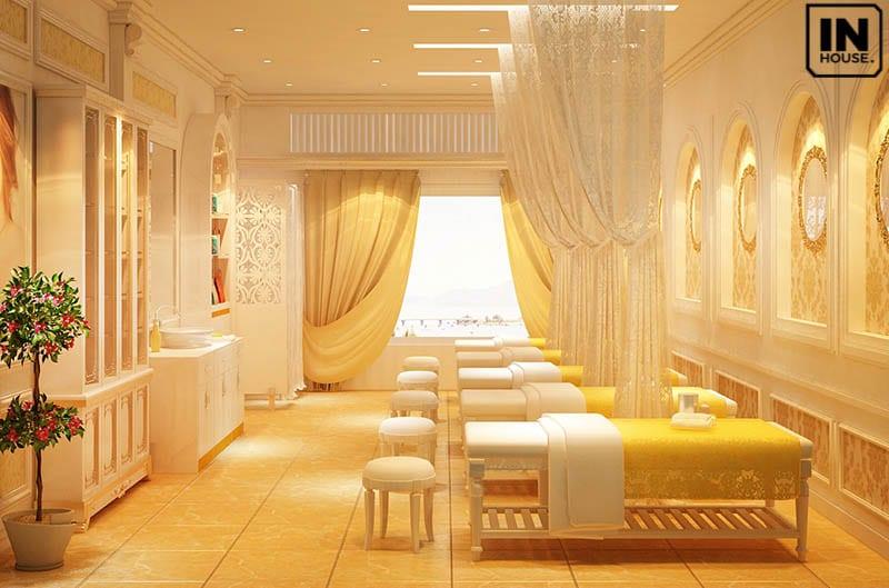 Thiết kế spa với tone màu vàng kim