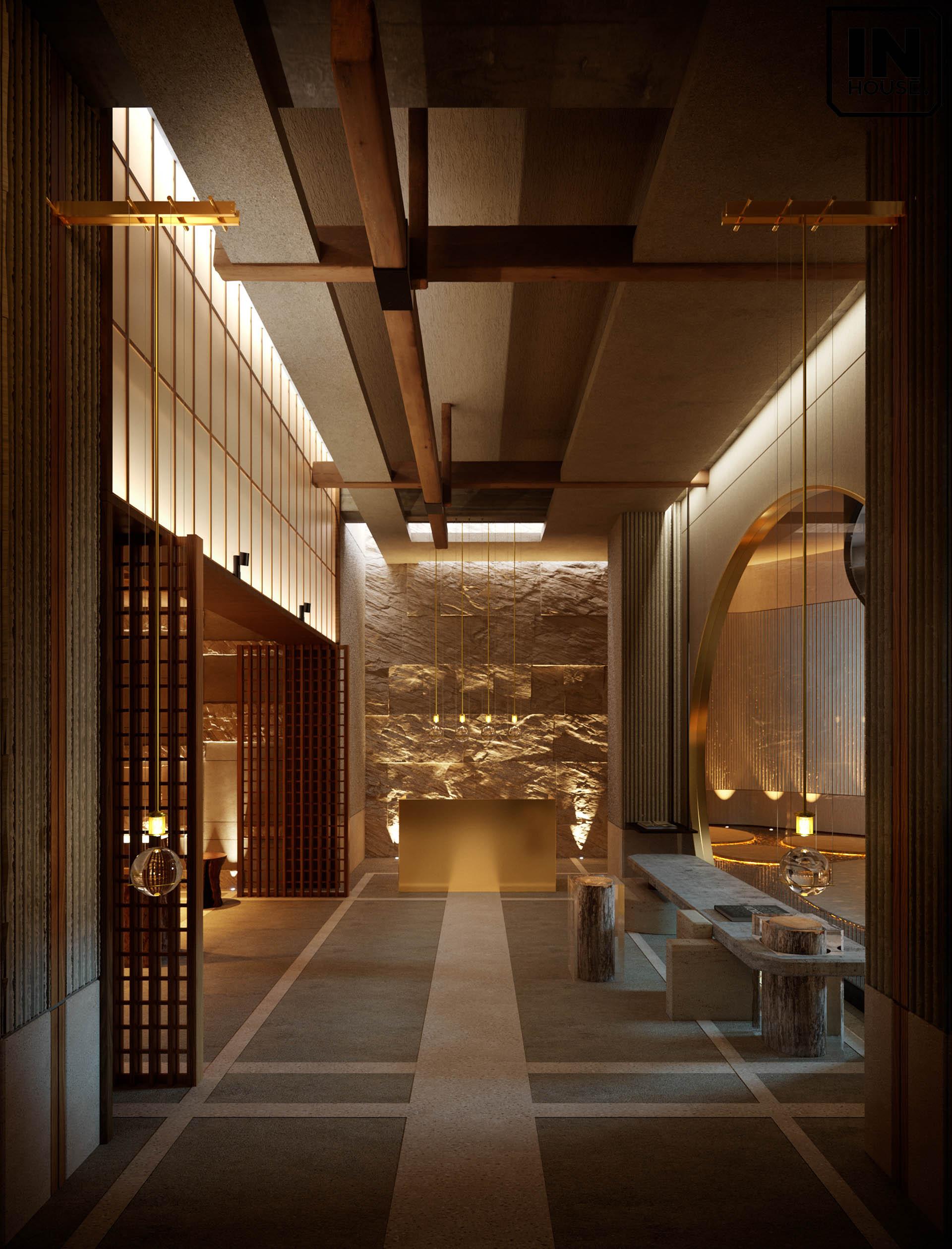 Thiết kế hành lang sử dụng gỗ